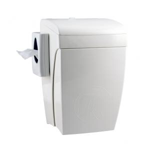 Hygiene-Abfallbehälter 8 Liter + Hygienebeutelhalter mit Knie-Bedienung Kunststoff weiß (PQHBS) (PlastiQline)