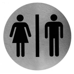 Piktogramm rund Mann/Frau Edelstahl (PS0001CS) (Mediclinics)