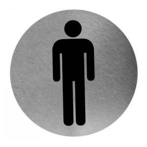 Piktogramm rund Mann Edelstahl (PS0003CS) (Mediclinics)
