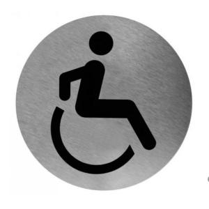 Piktogramm rund Invalide Toilette Edelstahl (PS0004CS) (Mediclinics)