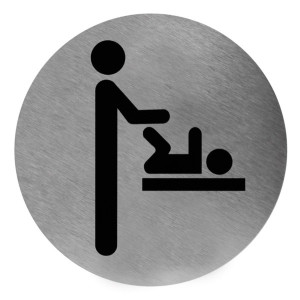 Piktogramm rund Wickeltisch Edelstahl (PS0005CS) (Mediclinics)