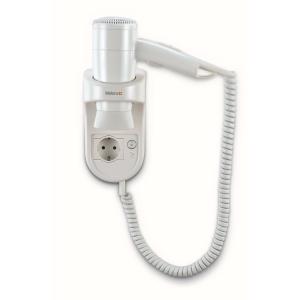 Wandhaartrockner Weiß mit Spiralkabel und Steckdose (Premium Smart 1600 Socket) (Valera)
