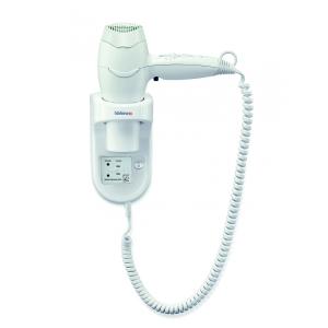 Wandhaartrockner Weiß mit Spiralkabel und Rasiersteckdose (Excel 1600 Shaver) (Valera)