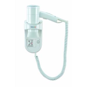 Wandhaartrockner Weiß mit Spiralkabel und Rasiersteckdose (Premium Smart 1200 Shaver) (Valera)