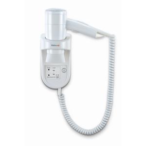 Wandhaartrockner Weiß mit Spiralkabel und Rasiersteckdose (Premium Smart 1600 Shaver) (Valera)