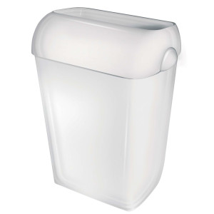 Abfallbehälter 43 Liter Kunststoff weiß halb offen (PQA43) (PlastiQline, Dutch Bins)