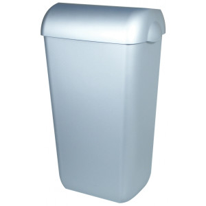 Abfallbehälter Liter Kunststoff Edelstahl Optik 23 halb offen (PQA23M) (PlastiQline, Dutch Bins)