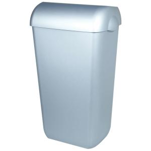 Abfallbehälter 43 Liter Kunststoff Edelstahl Optik halb offen (PQA43M) (PlastiQline, Dutch Bins)