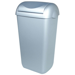 Abfallbehälter 43 Liter Kunststoff Edelstahl Optik + Swing Deckel (PQSA43M) (PlastiQline, Dutch Bins)