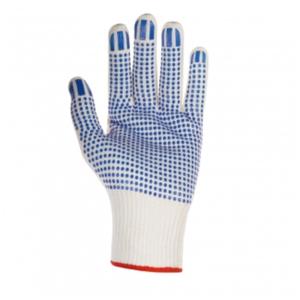 Arbeitshandschuh Baumwoll-Nylon-Mittelstrick, einseitig blaue PVC-Noppen, Kat.2 Größe 11