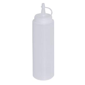 Quetschflasche Polyethylen mit Schraubdeckel Neutralweiß 0,35 liter Gesamthöhe 21 cm Durchmesser 5,5 cm