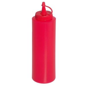 Quetschflasche Polyethylen mit Schraubdeckel Rot 0,35 liter Gesamthöhe 21 cm Durchmesser 5,5 cm