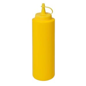 Quetschflasche Polyethylen mit Schraubdeckel Gelb 0,7 liter Gesamthöhe 24 cm Duchmesser 6,5 cm