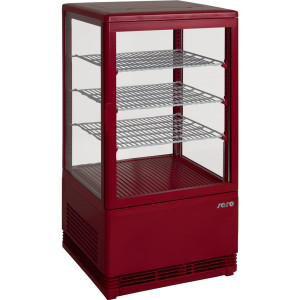 SARO Mini-Umluftkühlvitrine Modell SC 70 rot