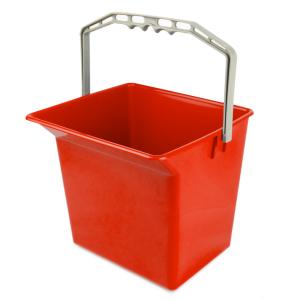 Kunststoffeimer 6 Liter rot für Reinigungswagen mit Literskala
